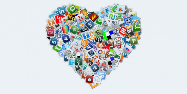 Social Media Heart Collage by Cathleen Donovan via Flickr CC-BY-NC 2.0 edited